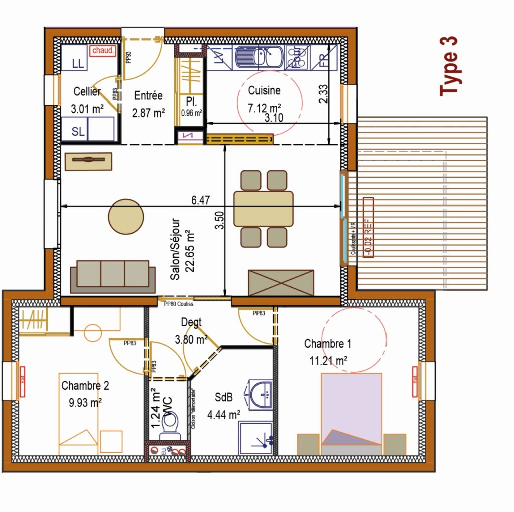 Plan T3 appartement Hexome